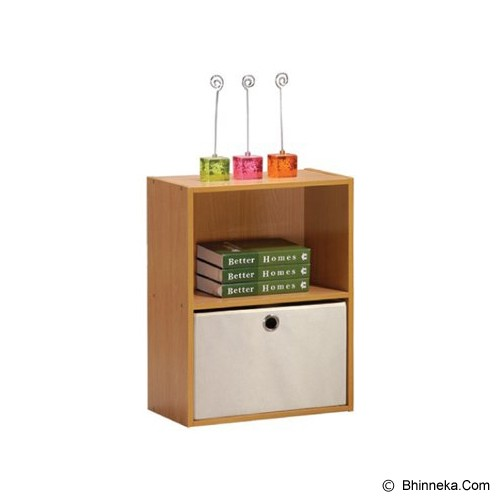 FUNIKA 2 Tier Bookcase with Bins [NT12059] - Brown - Rak Serbaguna